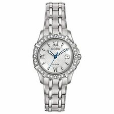 Citizen Eco-Drive Women's Diamond Silver Tone Bracelet 26mm Watch EW2360-51A