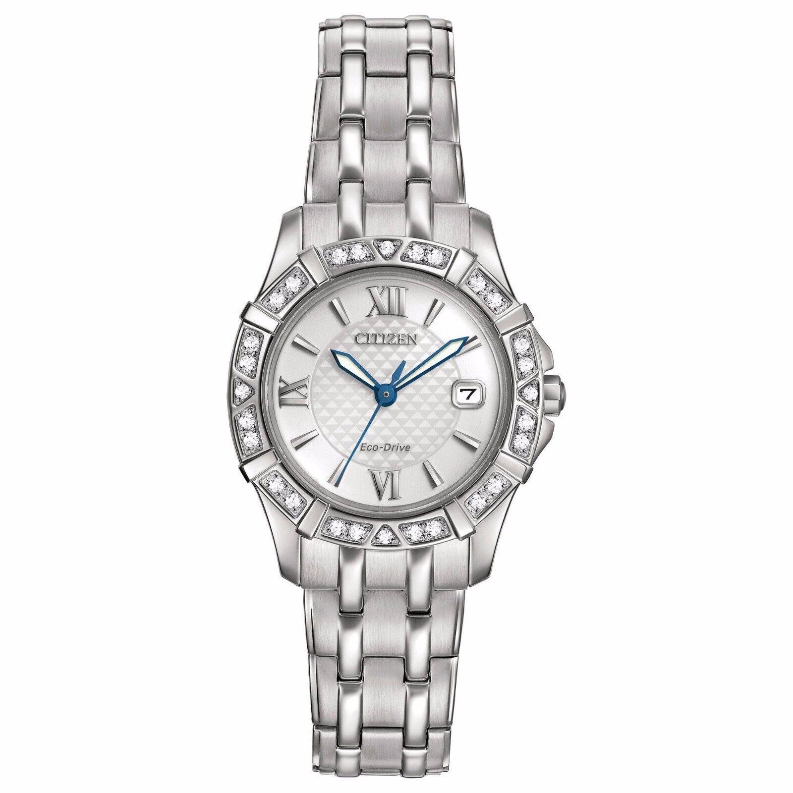 Citizen Eco-Drive Women's EW2360-51A Diamond Silver Tone Bracelet 26mm Watch