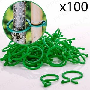 100x Small RING PLANT TIES Reusable Support Clips Flower Bush Vine Cable Holder