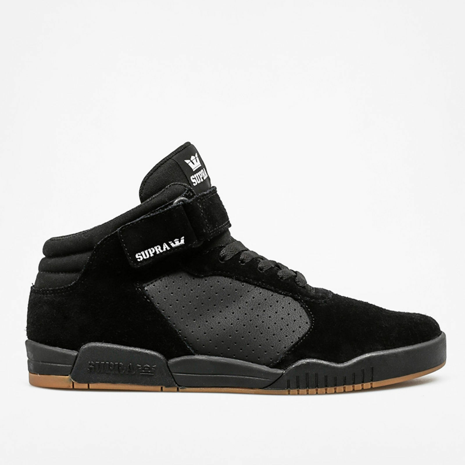 4384295fb5da Details about Supra Mens Ellington Strap Lace Up Active Gym Sport Lo Top  Black Gum Trainer