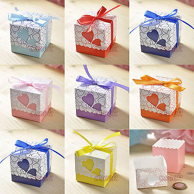 50 / 100pcs Heart-shaped Window Favor Gift Candy Boxes Wedding Party Baby Shower (Heart Shaped Favor Boxes)