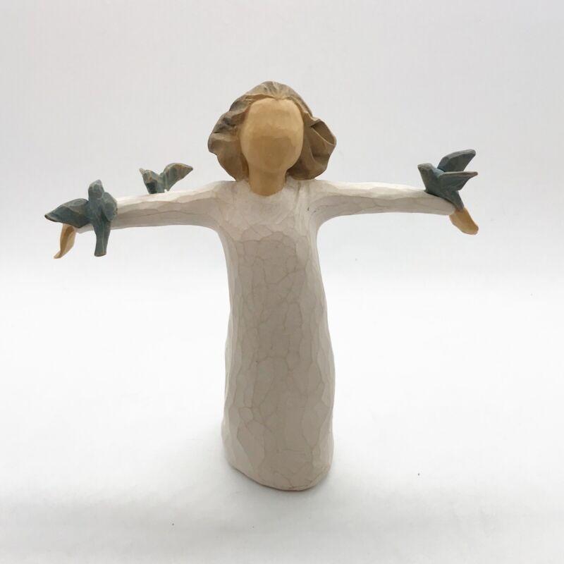 Demdaco Willow Tree Happiness Figure Figurine Woman 3 Birds Lordi 2004 Collect