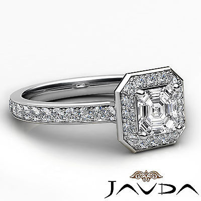 Asscher Diamond Halo Pave Set Anniversary Ring GIA G VS1 18k White Gold 0.95Ct 2