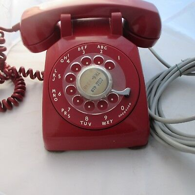 Vintage 1955 Western Electric Red Soft Plastic CD 500 desk telephone