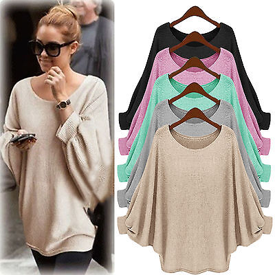 Womens Batwing Sleeve Knitted Sweater Tee Tops Casual Shirt Loose Blouse Jumper Batwing Sleeve Knit Top