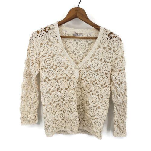 Vintage Hand Crocheted Cardigan Sweater Womens Large Jiangsu China Ivory Cotton