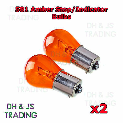 2 x 581 Amber Front Indicator Light Bulbs Car Auto Van VW Golf MK5 MKV 04-08