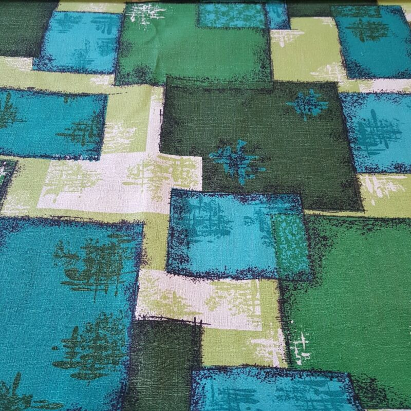 Vintage MCM Mid Century Cotton Bark Cloth Fabric Greens Blues 44in Wide Asian