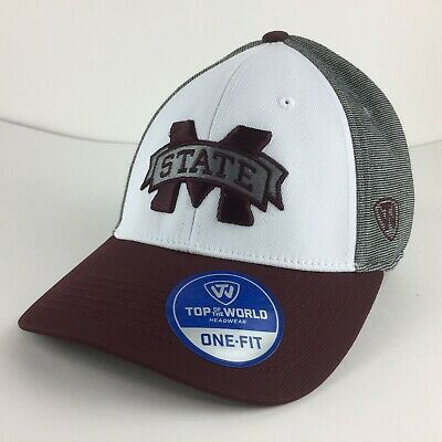 Mississippi State Bulldogs Cap Logo White Panel One Fit Stretch Hat Grey Maroon