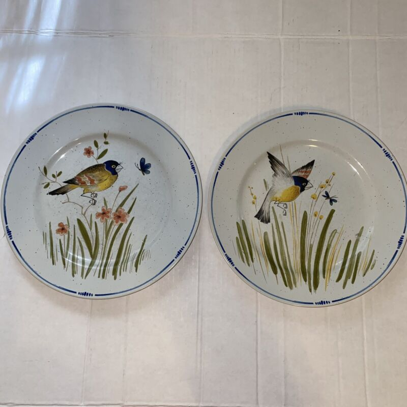 "Rare Set of 2 FITZ &  FLOYD ""Oiseau"" Beautiful 10"" SONG BIRD 1977 Dinner Plates!"