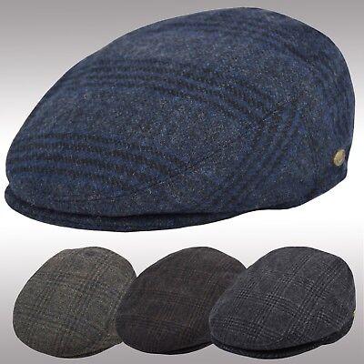 Men's Premium Quality Plaid Newsboy Cap, 100%  Wool Winter Ivy Cap, Flat Hat  Plaid Wool Cap