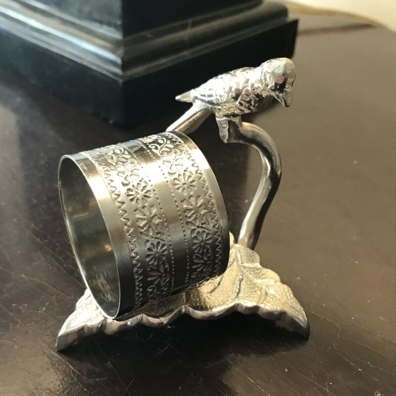 Antique Victorian Figural Silver Napkin Ring Bird Parrot
