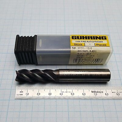 Guhring 3630 Solid Carbide Mill 12mm 4 Flute Firex Coating Msrp 153