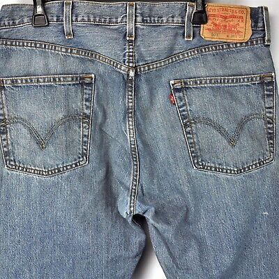 Worn Jeans Button Fly Jeans - Levis 501 Button Fly Jeans 37 x 32 True Fit Mens Denim Worn Stained 2004