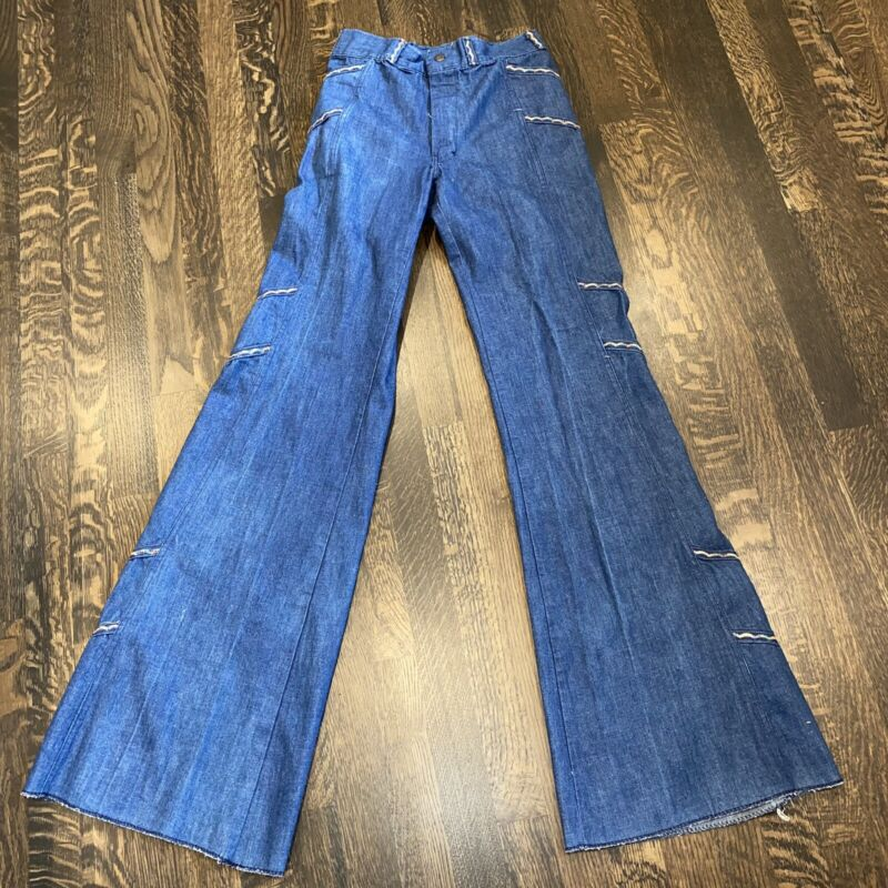 Vtg 60s 70s Nationwide Penncraft BELL BOTTOM Blue Jeans Denim pants Womens 28 35
