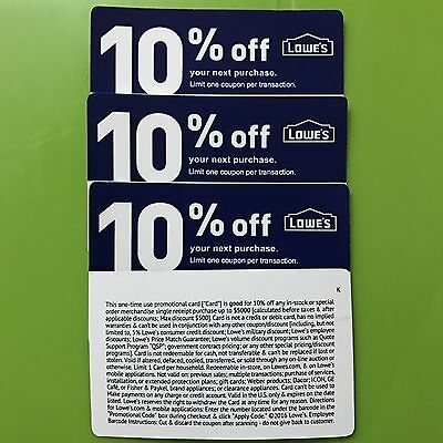 THREE Lowes 10% OFF-Coupons - Stock Cards - Expires 7/31 First Class