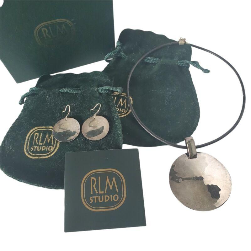 RLM Robert Lee Morris One World 925 Sterling Disk Necklace & Earrings Set MIB