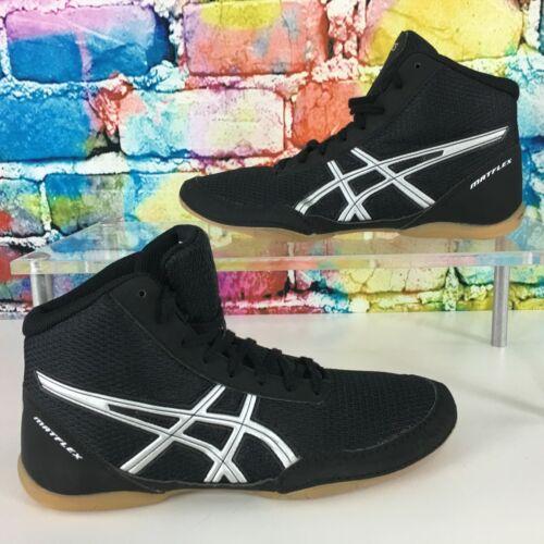 New ASICS Matflex Wrestling Shoes Youth US Size 5 Black Silver C545N EUR Size 36