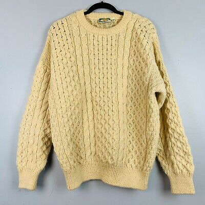 Gaeltarra Sz Medium Wool Beige Fisherman Cable Knit Crew Neck Ireland Sweater