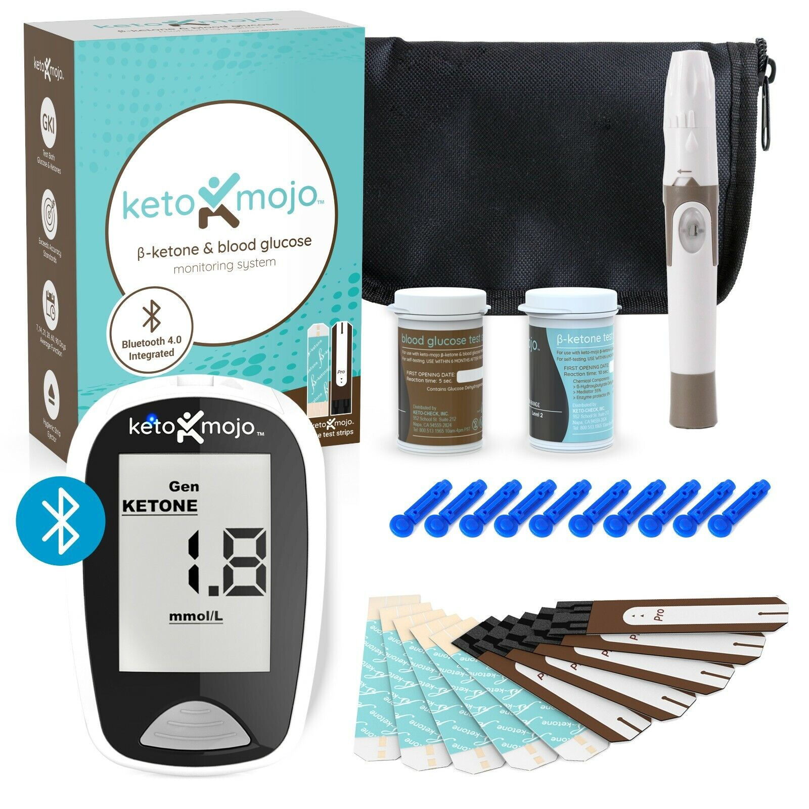 Keto-Mojo Bluetooth Blood Ketone and Glucose Meter Kit - Lif