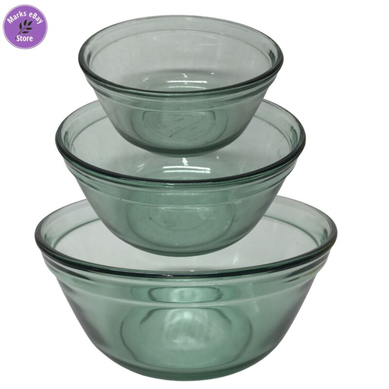 Anchor Hocking Vintage Ovenware Set of 3 Green Glass Mixing Nesting Bowls
