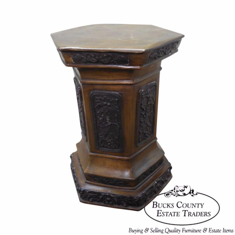 Heavy Bronze Renaissance Style Hexagon Pedestal