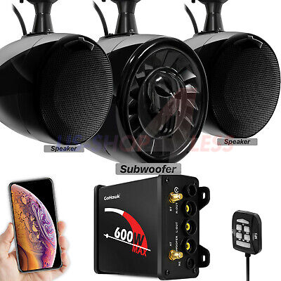 Bluetooth ATV UTV RZR Polaris Stereo Marine Speaker Audio 600W Radio System