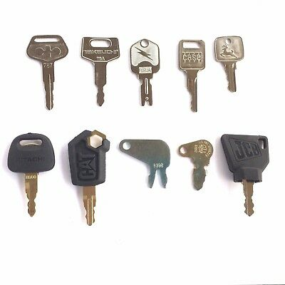 10pc Heavy Equipment Key Set Fits Case Cat Jd Komatsu Hitachi Takeuchi Oem Logos