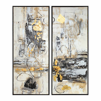 Oversize Abstract Modern Cubist Painting Set 2  Wall Art Panels White Black Gold 2 Painted Wall Panels