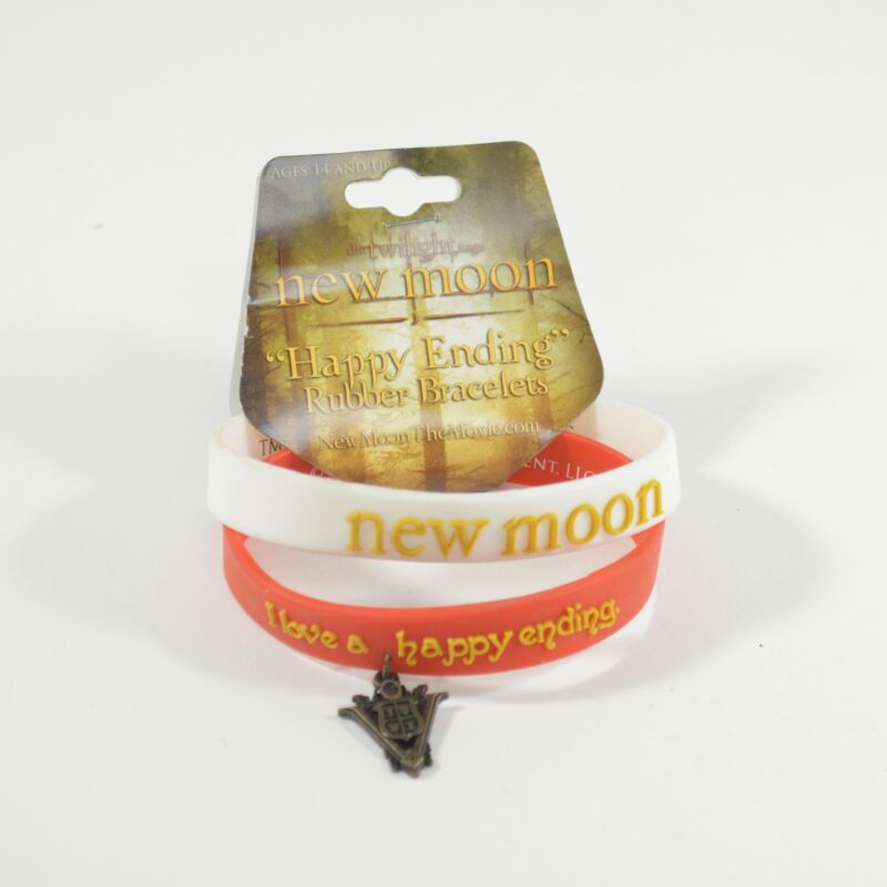 """The Twilight New Moon """"Happy Ending"""" Rubber Bracelets 2 in pack"""