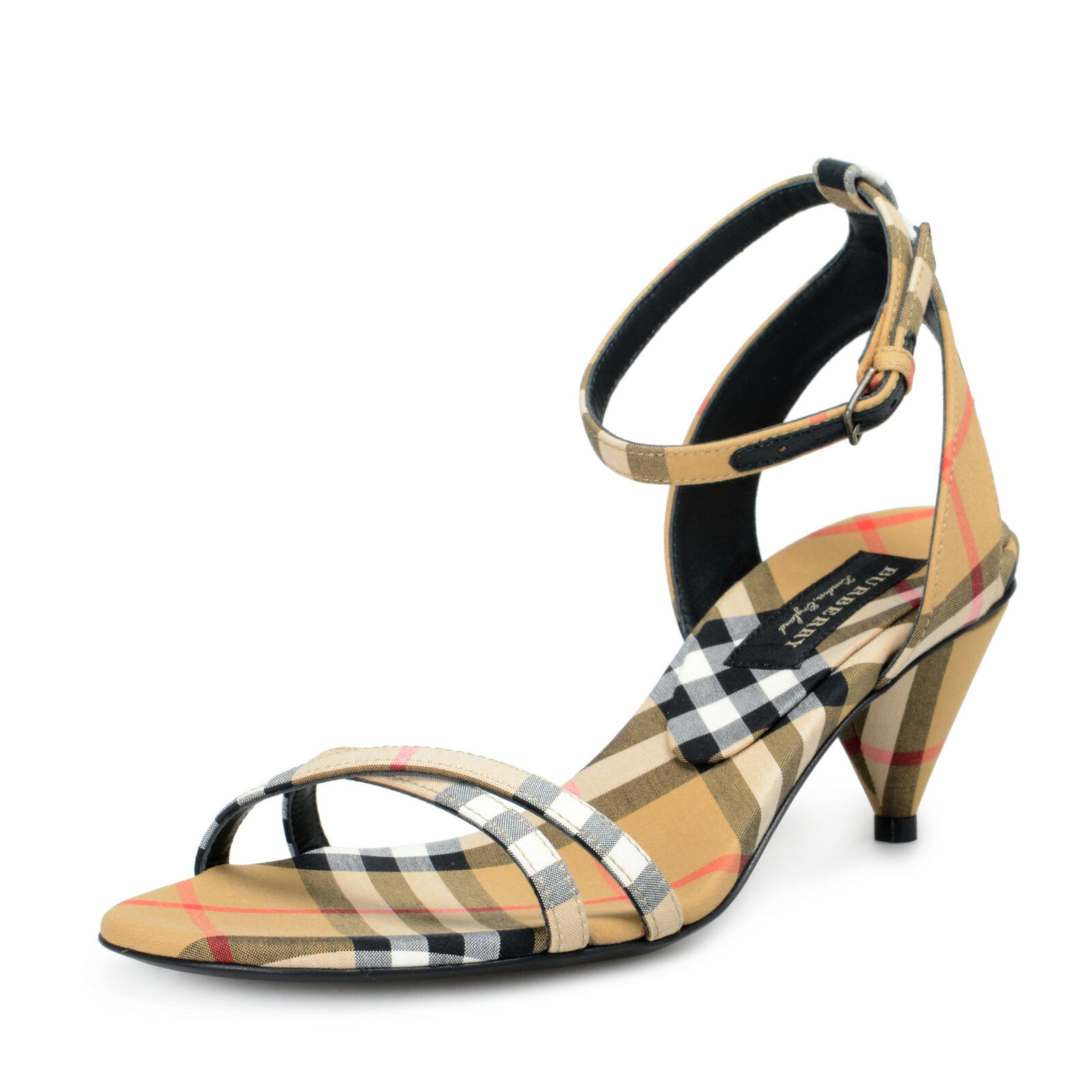 Burberry London Womens HANSEL Checkered Ankle Strap Heeled Sandals Shoes