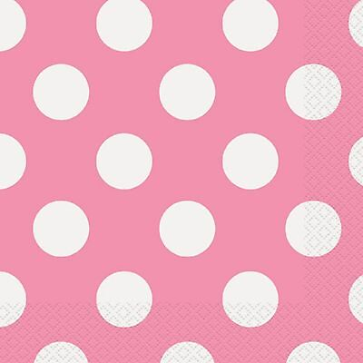 Rosa Polka dots 16 Mittagessen Servietten 33x33 cm Punkte Geburtstagsparty