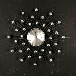 Modern Mid-Century 20 Silver Atomic Burst Clock
