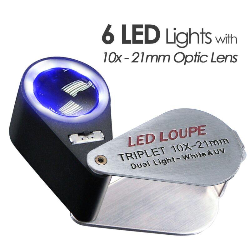 21mm Joyero Lupa 10x Ojo Aumento Lupa LED y luz UV Lente Tripleta   eBay 831676b884