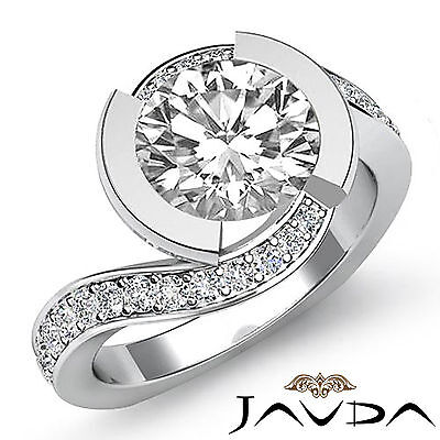 European Shank Bezel Round Diamond Engagement Pave Set Ring GIA F SI1 1.25 Ct