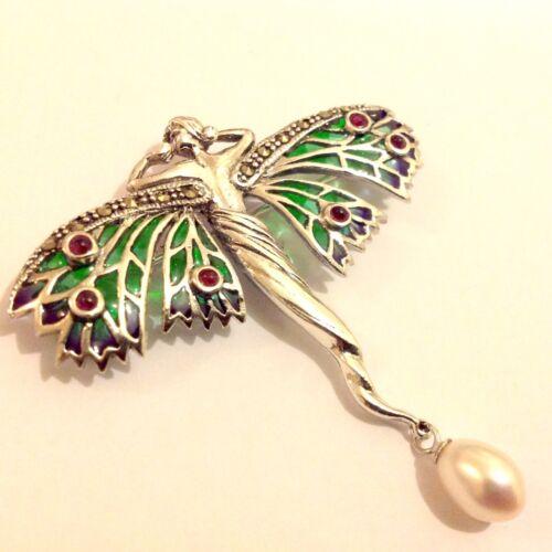 Sterling Silver Art Nouveau Plique a Jour Ruby Goddess Angel Fairy Lady Brooch