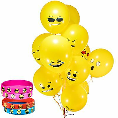 4 Emoji Smile Emoticon Silicone Bracelets & 36 Latex Emoji Smiley Face Balloons, - Smiley Face Balloons