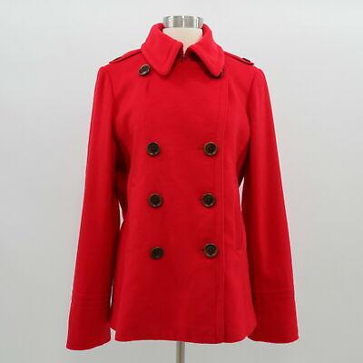J.CREW Peacoat Jacket Womens 100% Wool TL Tall Large Bright Red Classic Tall Classic Peacoat