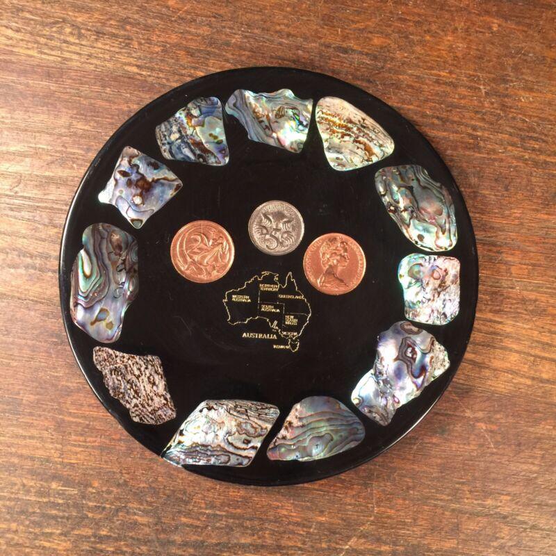 Vintage Australia Coins Plate Souvenir Abalone Shell Lucite Saucer New Zealand