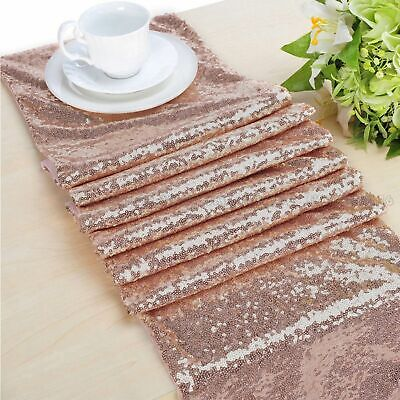 Rose Gold Sequin Table Runner Tablecloth Xmas Party Wedding Decorations 12