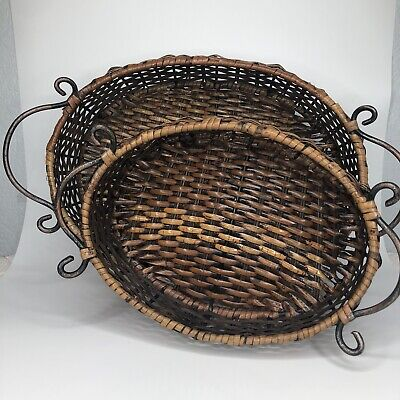 Oval Nesting Baskets (2) Metal Handles
