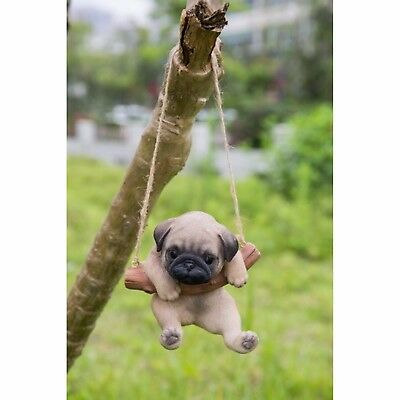 Hanging BROWN PUG Puppy Dog - Life Like Figurine Statue Home Garden NEW