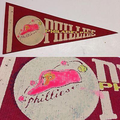 1960s Rare MLB Vintage Philadelphia Phillies Baseball Mini Pennant 4x8