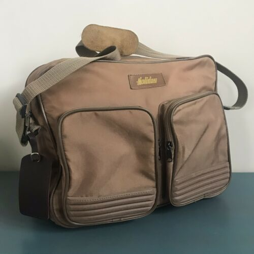 VINTAGE 1970s-1980s Brown Travel Carry On Holiday Bag W/ Strap Tag - $20.00