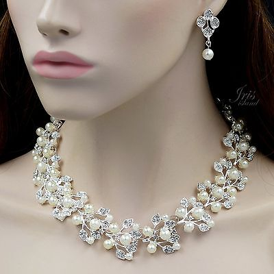 Silver Plated Pearl Crystal Necklace Earrings Bridal Wedding Jewelry Set 00125