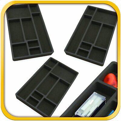 3 Desk Drawer Organizer Insert Black Home Or Office 8 Slot 19.9 X 12.1 New