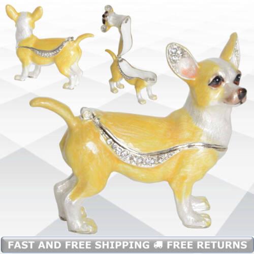 Chihuahua Dog Pewter Enamel Hinged Jewelry Trinket Box Jeweled Crystals Ornament