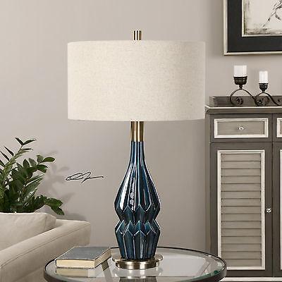 Blue Glaze Ceramic Table Lamp - PRUSSIAN 32