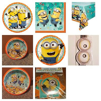 Minions Despicable Me Birthday Party Supplies Plates Table Cover Napkins New - Birthday Minion