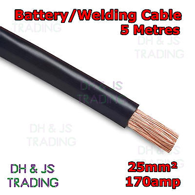 5m Black Battery Welding Cable 25mm² 170a - Flexible Marine Boat Automotive Wire